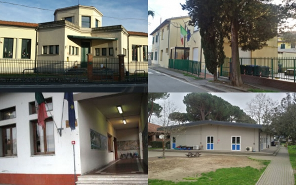 Facciate delle quattro scuole dell'infanzia